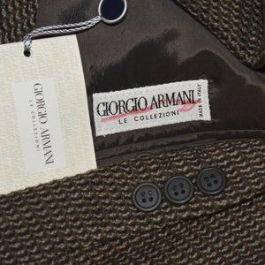 $1395 NEW 38R Giorgio Armani Brown Tweed COAT